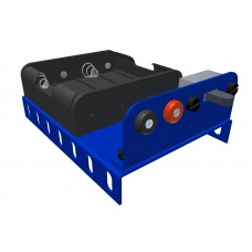 Battery holder for 4 x UM3/Mignon, blue, with switch