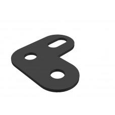 Corner bracket, 2 round holes, 1 short slot