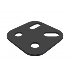 Square corner bracket, 2 holes, 2 short slots