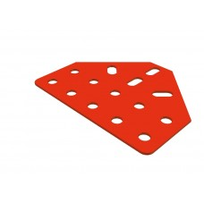 Large flat bracket, 14 holes, red