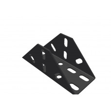 Large flanged bracket, 18 holes, black
