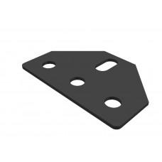 Trapezium corner bracket, 3 holes, 1 short slot