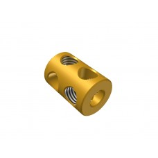 Coupling, 2 holes, brass, 4 x M4 threads