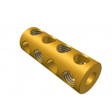 Coupling, 4 holes, brass, 8 x M4 threads
