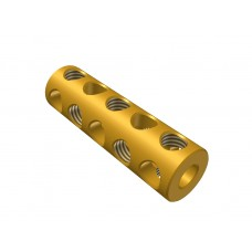 Coupling, 5 holes, brass, 10 x M4 threads