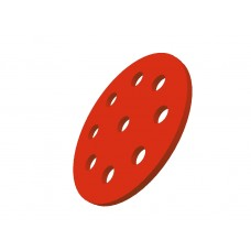 Wheel disc, 1 1/2\', red, steel, 9 holes
