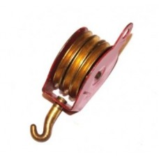 """Triple Block Pulley + Hook, 1\"""" Pulley, 2.5\"""" High, Red"""