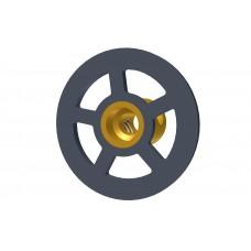 Small handwheel, black, without brass boss, D=26 mm