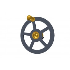Small handwheel; 1-1/2\'; black, with brass boss