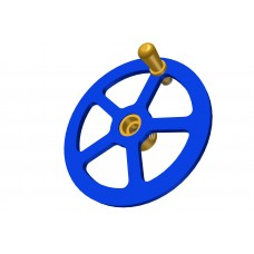 Handwheel; 2\'; blue, with brass boss