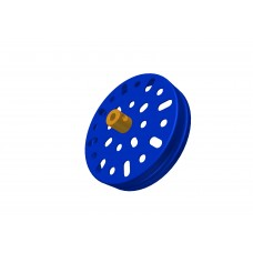 Large flanged pulley, 2 1/2\', blue, 2 x 5/32 threads